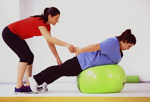 physical therapy weight loss stretching ball